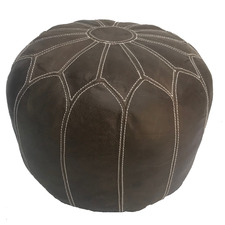 Moroccan B Leather Ottoman