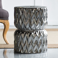 Silver Agnes Ceramic Footstool