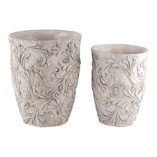 Grey Wash Tall Carved Planters (Set of 2)