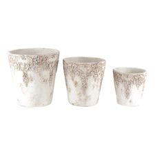 Grey Wash Flower Pots (Set of 3)