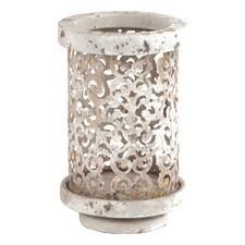 Pressed Metal Cylinder Candle Holder