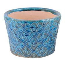 Glazed Blue Flower Pot