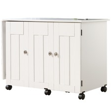 White Multifunctional Hideaway Desk Cart