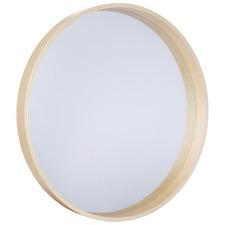 Round Light Wood Mirror
