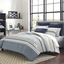 Blue & White Striped Lansier Cotton Quilt Cover Set