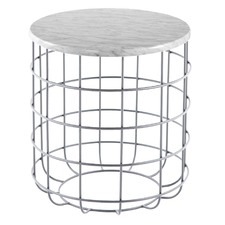 Oliver Silver Marble Wire Side Table