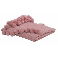 Ellis Dusty Pink Pom Pom Throw