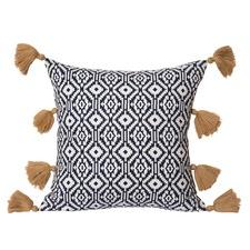 Navy Thoren Cotton Tassel Cushion
