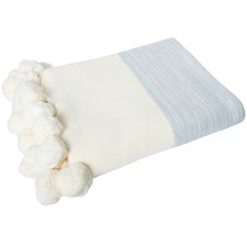 Calgary Knitted Cotton Pom Pom Throw