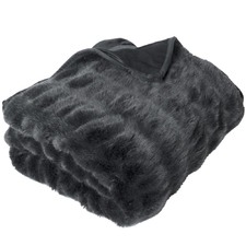 Quebec Ruched Faux Fur Throw