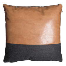 Aspen Faux Leather & Wool Cushion