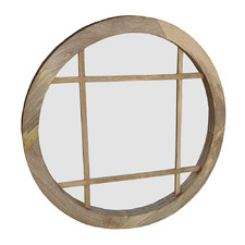 Natural Tundra Round Wood Mirror