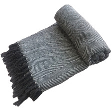 Natural & Charcoal Aria Woven Cotton Throw