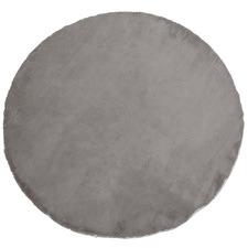 Silver & Grey Emilia Faux Rabbit Fur Round Rug