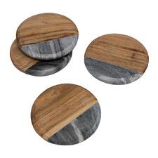 Atlantis Marble & Wood Coasters (Set of 4)