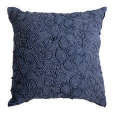 Indigo Floreat Embroidered Cotton Cushion