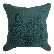 Eden Green Norrie Embroidered Cotton Cushion