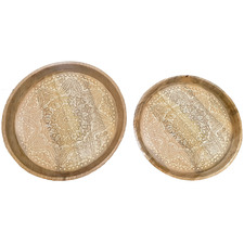 Whitewashed Maylin Wood Carved Plates (Set of 2)