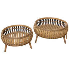 2 Piece Cora Bamboo Planter Set
