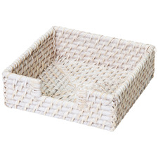 White Pacifica Rattan Napkin Holder