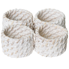White Pacifica Rattan Napkin Rings (Set of 4)