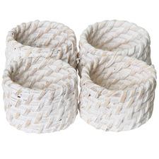 White Pacifica Rattan Napkin Rings (Set of 4)