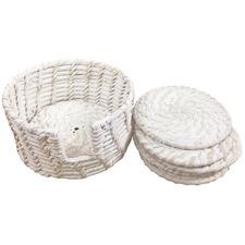 6 Piece White Pacifica Rattan Coasters Set