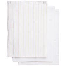 3 Piece Festive Stripes Cotton-Blend Teatowel Set