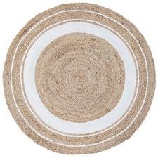 White Harrison Cotton & Jute Round Rug