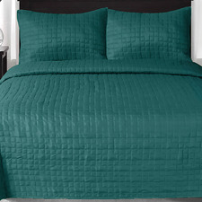 Peacock Prism Checks Quilted King Coverlet Set