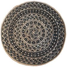 Black Kendra Printed Jute Round Rug