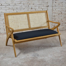 Natural Zadie 2 Seater Cushioned Bench