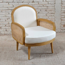 White & Natural Sherine Cushioned Armchair