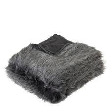 Grey Wolf Faux Fur Throw
