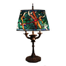Oval Green Dragonfly Table Lamp