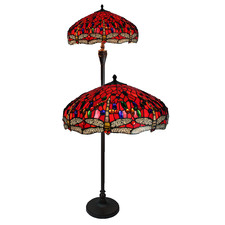 Red Dragonfly Stained Glass Floor Lamp