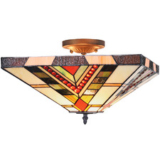 Red Jewelled Square Geometric Ceiling Lamp