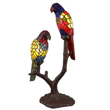 Pair Parrot Tiffany Glass Table Lamp