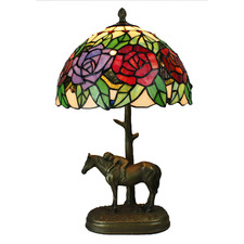 Rose Table Lamp with Boy-on-Horse Figuring Base