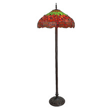 "Extra Large 22"" Leadlight Green Dragonfly Floor Lamp"
