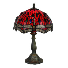 Stained Glass Red Dragonfy Table Lamp