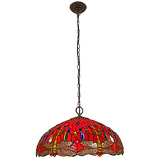 Red Dragonfly Tiffany-Style Pendant Light