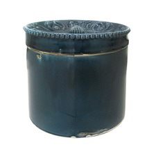 Scalloped Ceramic Canister in Midnight