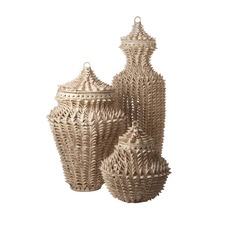 Spiked Lontar Urn in Ginger