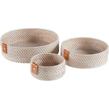 3 Piece Round Zeneth Rattan & Leather Container Set
