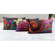 Espresso Paisley Embroidered Cushion Cover