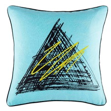 Tri Blue Square Cushion