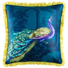 Peacock Fringed Cushion