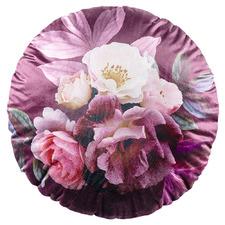 Floral Blume Round Velvet Cushion