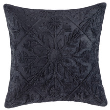 Navy Tile Pattern Margo Velvet Cushion